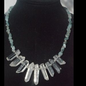 Quartz Crystal Apatite sterling silver Necklace